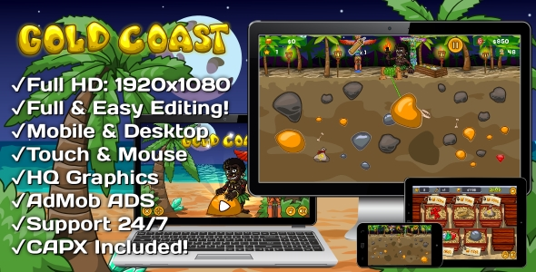 ✅ Gold Coast – HTML5 Game 20 Levels + Mobile Version! (Construct 3 | Construct 2 | Capx) Nulled