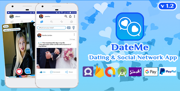 ✌DateMe – Android Mobile Native Social Network Timeline, Dating Application v1.2 Nulled