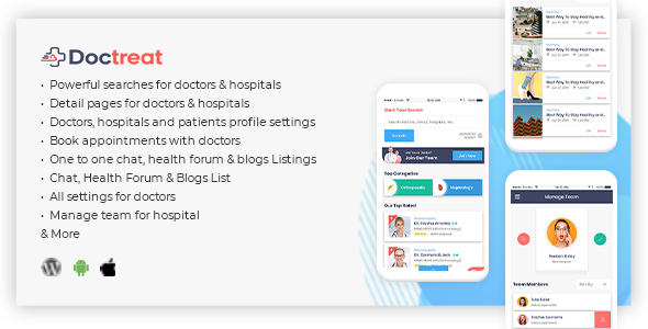 ✌Doctreat – React Native Mobile APP for Android and IOS Nulled
