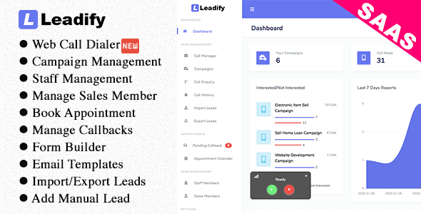 ✅ Leadify SAAS – Lead & Call Center CRM Nulled