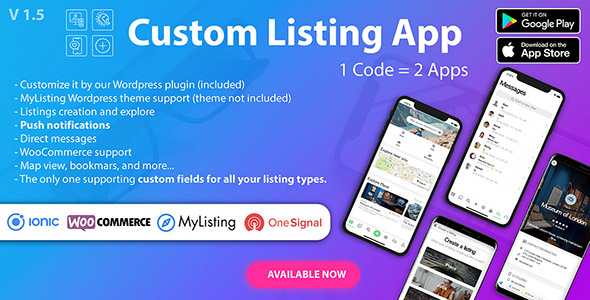 ✌Custom Listing App – Android and iOS Ionic 5 directory mobile app compatible with MyListing Theme Nulled