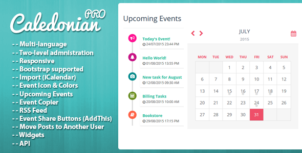 ✅ Caledonian PRO PHP Event Calendar Nulled