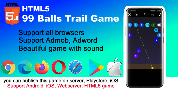 ✌99 Trail ball HTML5 and mobile game ( Support Andoid, iOS, browser ) Nulled