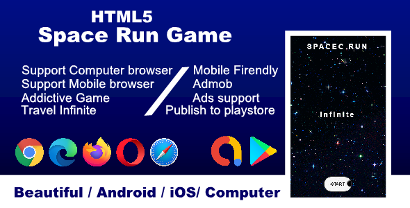 ✅ HTML5 Space run game, support all browser and mobile friendly Android & iOS Nulled