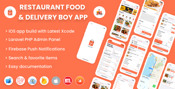 ✨Single restaurant iOS food ordering app with Delivery Boy and Admin Panel Nulled