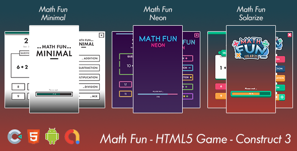 ✅ Math Game Fun – HTML 5 Game –  Android Game – Construct 3 Nulled
