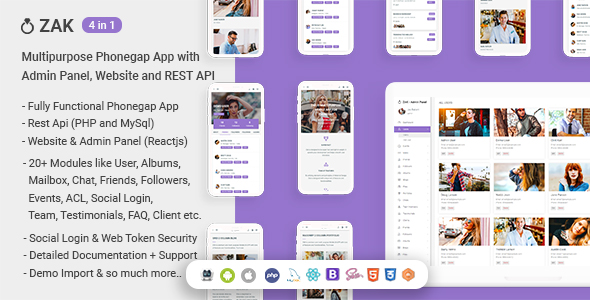 ✌Zak – (4 in 1) Multipurpose Phonegap App with Admin Panel, Website and REST API Nulled