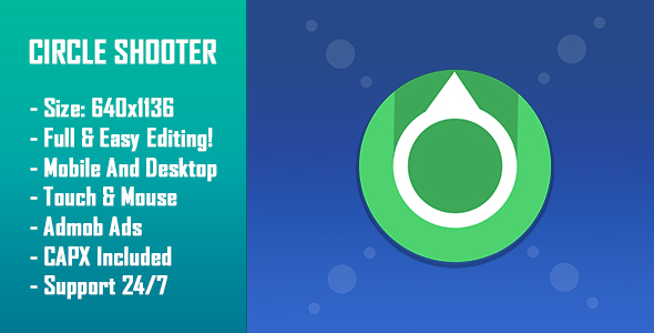 ✨Circle Shooter – HTML5 Game + Mobile Version! (Construct 2 / Construct 3 / CAPX) Nulled