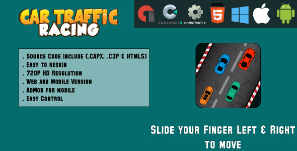 ✅ Car Traffic Racing – HTML5 Game – Web & Mobile + AdMob (CAPX, C3p and HTML5) Nulled