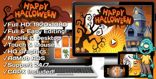 ✨Happy Halloween – HTML5 Game 18 Levels + Mobile Version! (Construct 3   Construct 2   Capx) Nulled