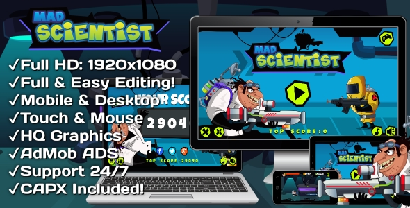 ✨Mad Scientist – HTML5 Game 6 Levels + Mobile Version! (Construct 3 | Construct 2 | Capx) Nulled
