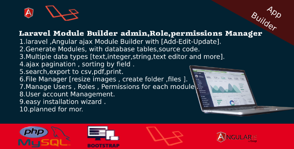 ✌Dashboard Builder – CRUD,Users,Roles,Permission,Files Manager,Invoices Nulled