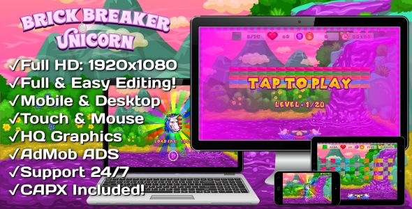 ✌Brick Breaker Unicorn – HTML5 Game, Mobile Version+AdMob!!! (Construct 3   Construct 2   Capx) Nulled