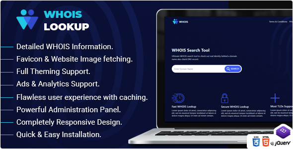 ✅ Whois Lookup – PHP Whois Script Nulled