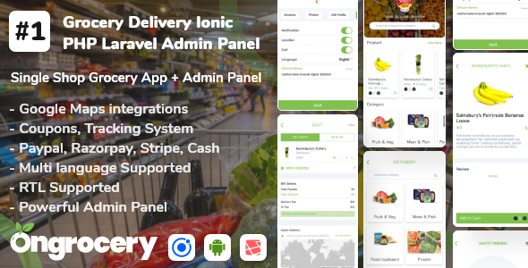 ✨Grocery ecommerce delivery app with admin panel | Android | Ios Nulled
