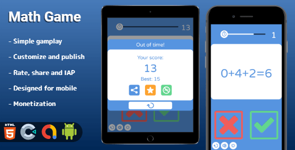 ✨Math Game – HTML5 Game (Construct 3) Nulled