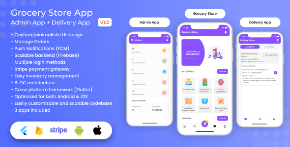 ✅ Grocery, Food, E-commerce Single Vendor Store with Admin App and Delivery App Nulled