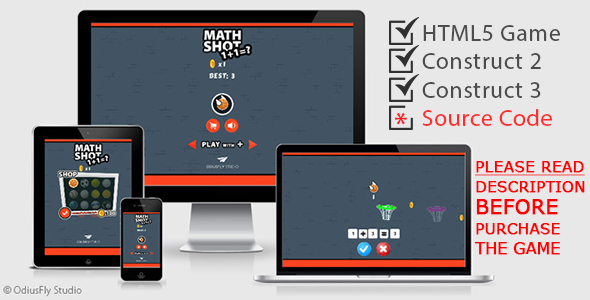✌Math Shot – HTML5 Game (Construct 2 + Construct 3) Nulled