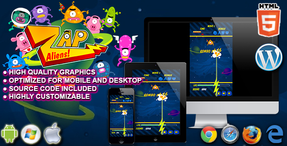 ✅ Zap Aliens – HTML5 Arcade Game Nulled