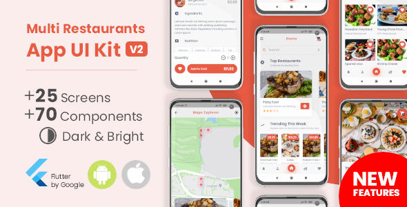 ✅ Food Delivery Flutter App UI Kit Nulled