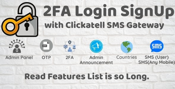 ✌2FA Login SignUp Via Clickatell SMS with Admin Panel Nulled