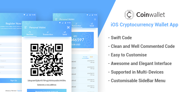 ✌CoinWallet – iOS Cryptocurrency Wallet Template Nulled