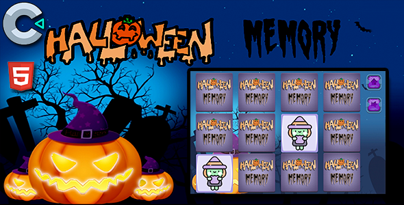✅ Halloween Memory – HTML5 Mobile Game Nulled