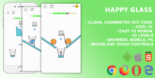 ✨Happy Glass. Mobile, Html5 Game. .c3p (Construct 3) Nulled
