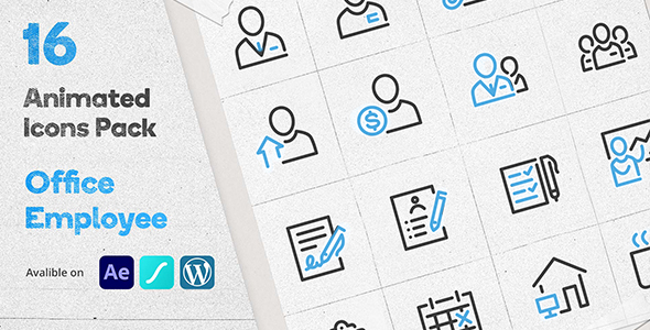 ✌Office Employee Animated Icons Pack – WordPress Lottie Json Animation SVG Nulled