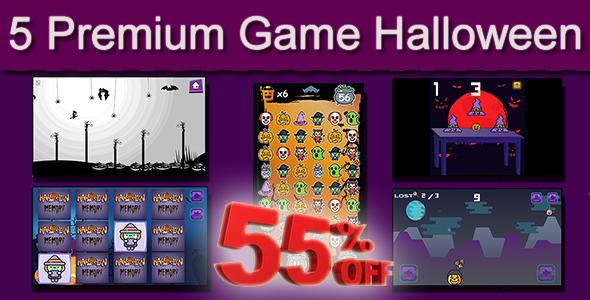 ✌Halloween 5 in 1 Bundle – HTML5 Mobile Game Nulled
