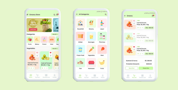 ✅ Grocery local Store Mobile Flutter App UI Kit Nulled
