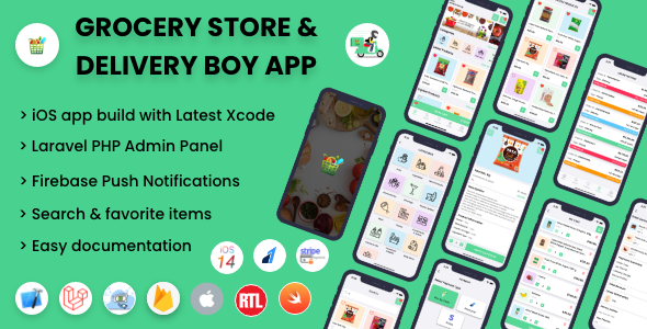 ✅ Single Grocery, Food, Pharmacy Store iOS User & Delivery Boy Application With Admin Panel Nulled