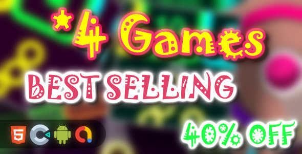 ✌BEST Selling Games Bundle – 4 Games(Html5 + Construct 3 +Mobile) Nulled