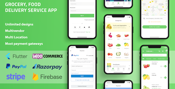 ✅ Grocery Food Delivery Service Flutter app for WooCommerce with Multivendor & Multi Location Features Nulled