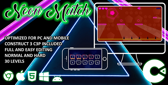 ✨Neon Match Construct 3 HTML 5 Game Nulled