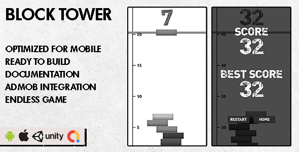 ✨Block Tower – Unity Game – Android Hypercasual Game Nulled