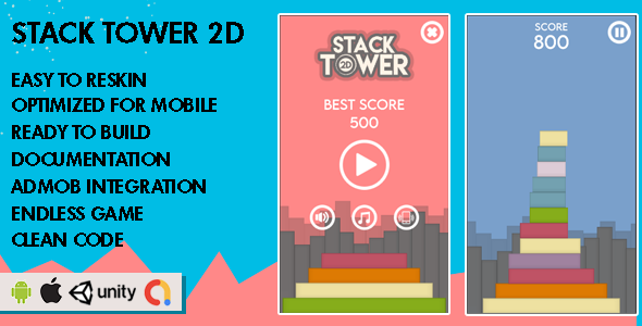 ✌Stack Tower 2D – Unity Game – Android Hypercasual Game Nulled