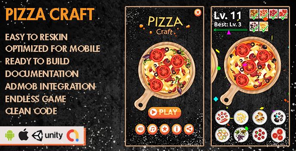 ✌Pizza Craft – Unity Game – Android Hypercasual Game Nulled