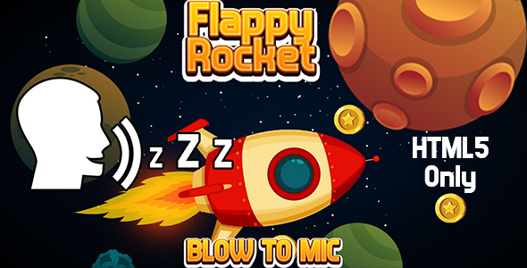✅ Flappy Rocket with Blowing (HTML5) Blow to Mic to Play Nulled