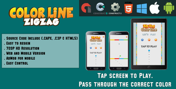 ✌Color Line ZigZag – HTML5 Game – Web & Mobile + AdMob (CAPX, C3p and HTML5) Nulled
