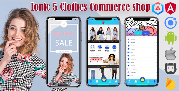 ✨Ionic 5 Clothes Shop Commerce  Theme/Template/Full App/with Firebase(Android+ios+web) Nulled