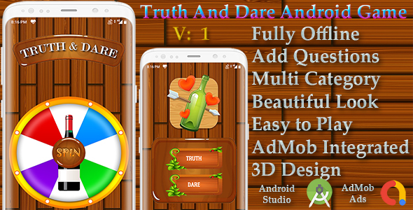 ✌Truth or Dare Android Game in 3D – Spin the Bottle – Mobile OTP Login – AdMob Nulled