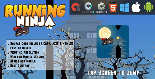✌Running Ninja – HTML5 Game – Web & Mobile + AdMob (CAPX, C3p and HTML5) Nulled
