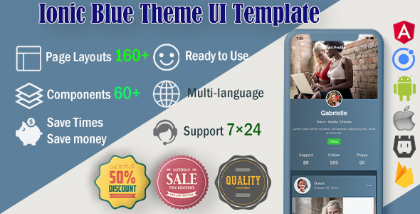 ✅ Ionic 5 / Angular 8 UI Blue Theme / Template App | Starter App Nulled