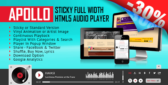 ✌Apollo – Sticky Full Width HTML5 Audio Player Nulled