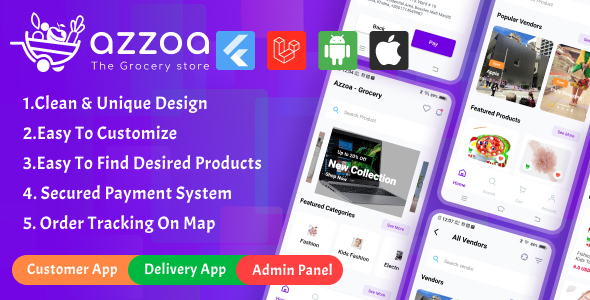 ✅ Azzoa – Grocery, MultiShop, eCommerce Flutter Mobile App with Admin Panel Nulled