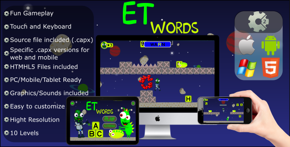 ✅ ET Words – Educational Game (.CAPX Web and Mobile) HTML5 files Nulled