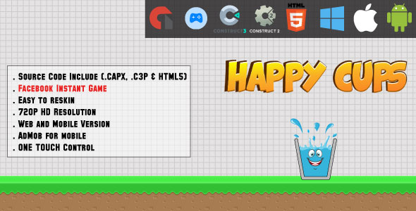 ✨Happy Cups – HTML5 Game – Web & Mobile + AdMob (CAPX, C3p and HTML5) Nulled