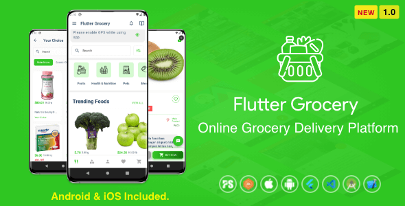 ✅ Flutter Multi Vendor Grocery ( Convenience Store, Food, Vegetable, Fresh Fruit, eCommerce, Retail ) Nulled
