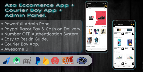 ✨Aza Ecommerce App & Courier Boy App With Powerfull Admin Panel. Nulled